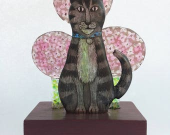 Waiting,cat in hydrangeas, fused glass sculpture