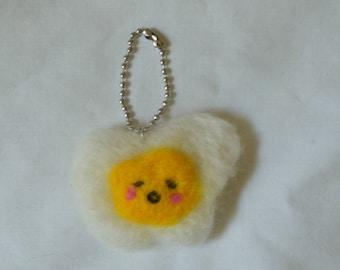 Sleepy Needle Felted Egg Keychain