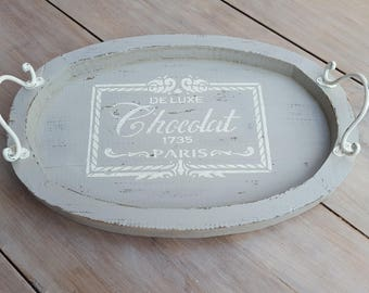 Chocolate shabby chic wooden tray
