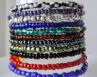 Seed bead stretch bracelets