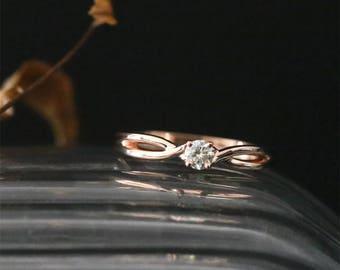 Elegant C&C 3.5mm Round Cut Forever Classic Moissanite Ring Plain Solid Gold Ring 14K Rose Gold Moissanite Engagement Ring Bridal Ring