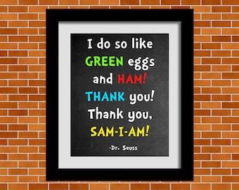 Printable Dr. Seuss Art, Dr. Seuss Quote, Playroom Wall Art, Nursery Room Décor, Classroom Inspiration Quotes, Dr. Seuss, Green Eggs & Ham