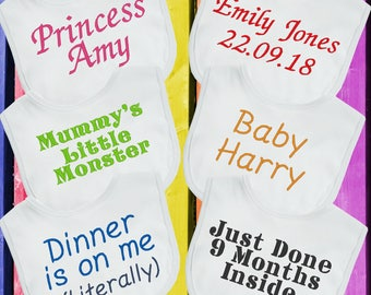 Luxury Personalised Baby Bib Any Wording Name Boys Girls Perfect Babies Gift