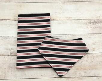 striped bandana bib and burp cloth set - baby accessories - baby bib - burp pad - baby shower gift - neutral baby gift - boy bib - burp rag