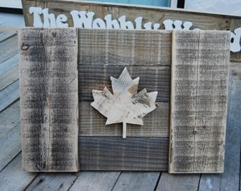 Canadian Flag/Handcrafted/great gift idea/Natural/wood/3D/rustic/reclaimed/wall art/decor/maple leaf/canadiana/Cabin/ Patio/outdoor decor
