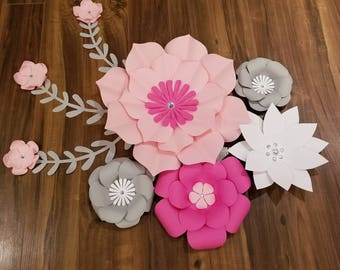 Pink, white and grey paper flowers