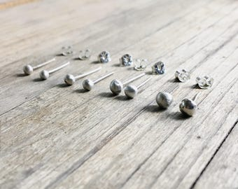 Tiny Silver Studs // Recycled Silver // Everyday Wear // Stud Earrings // Mix and Match