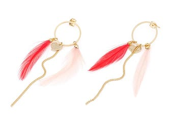 Earring - Gold Plated - Base Metal,Imitation Feathers - Elegant - Anniversary