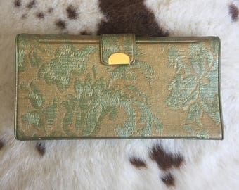 1960's Retro gold-green embossed trifold wallet.