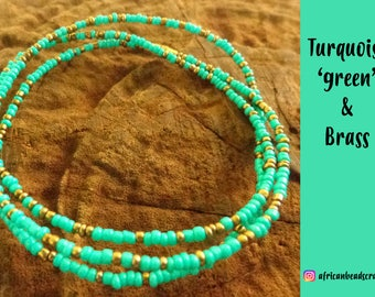 Turquoise with Brass - Waist Beads - Belly Chain - Belly Beads - African Waist Beads