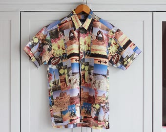 Vintage Shirt ARIZONA 1980s Retro Men Western USA Pattern Short sleeves Top Loose Fit Colorful Button Down / Large size