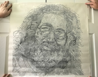 Vintage Poster of Jerry Garcia from The Grateful Dead