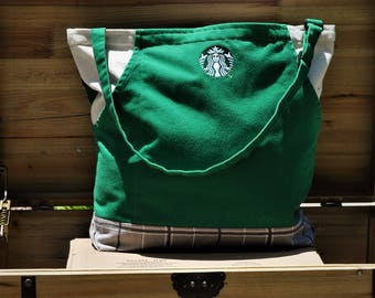Upcycled Starbucks Apron Large Tote, Cafe/Market/Pool/Beach Bag, Eco-Friendly Bag, Green Canvas Tote