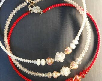 Necklace/Collar. Cristals. Glass. Craftwork. Hand made. Rainbow Jewelry. Wire wrapped. Parure.