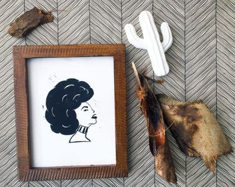 I am bad | Woman with afro | Linoleum relief print