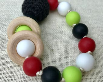 Red, Black and Green Baby Teething Rattle Organic Wood Matches Betty Cherry Tula