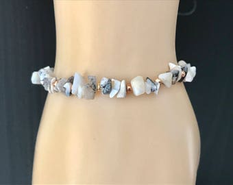 Dendritic Opal Bracelet, Dentrite Opal Bracelet, Opal Bracelet, Opal Jewellery, Stretchy Bracelet, October Birthstone