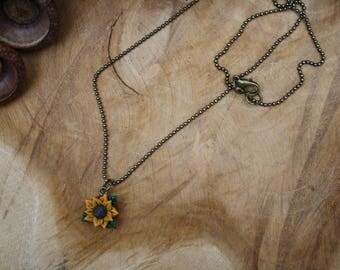 Sunflower floral flower necklace, polymer clay jewelry