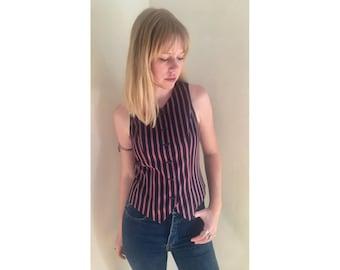 Striped Vest/ Vintage Vest/ Harlequin Vest/ Pinstripe Vest/ Silk Vest/ Silk Tank/ Silk Vest