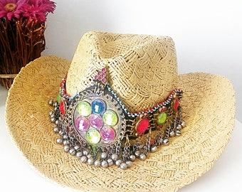 Boho Hat, Tribal Hat, Exclusive Hat, Vintage Hat,
