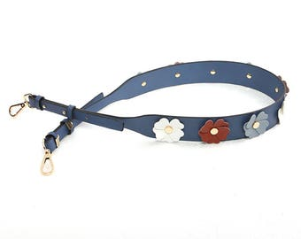 Strap You blue Leather flowers Bag Strap Genuine leather Removable Purse Strap Interchangeable Strap Replacement Handle Chain adjustable