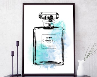 Coco Chanel Print. Chanel perfume bottle. Coco Chanel poster. Fashion Art. Fashion Print. Chanel Wall Art. Fashion Wall Art. Free shipping.