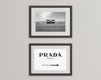 Prada Marfa prints. Prada Marfa sign, Prada Marfa Texas. Prada Marfa Wall Art, Prada Marfa poster, Prada Mileage Prints, Mileage Poster.