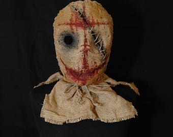 "Mask Scarecrow ""One-eyed Smile"", horror, halloween, masquerade, free shipping"