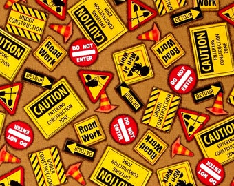 Dig It Construction Signs on Brown by Quilting Treasures fabric