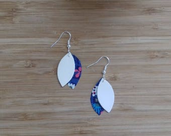 Silver leather and liberty in the shape of petals, white dangle earrings