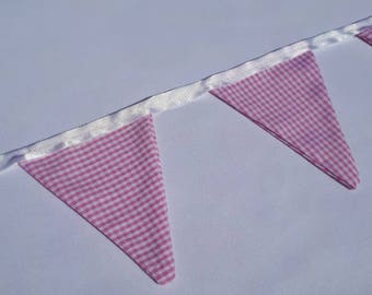 Pink Gingham Bunting ( small)