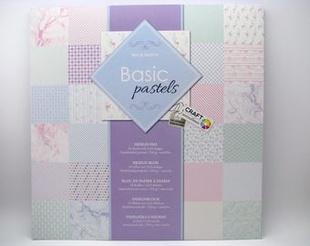 Basic pastels - design pad - 2x24 assorted designs - 24 sheets - 250g - acid free - doublesided printed