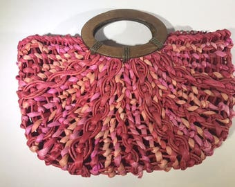 Vintage Boho Straw Pink Purse with Wooden Handles
