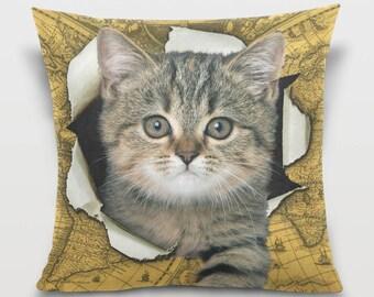 Cute Kitten Pillow Cover Cat Throw Pillow Kitten Pillowcase Vintage Cat Map Decor Sofa Decorative Pillow