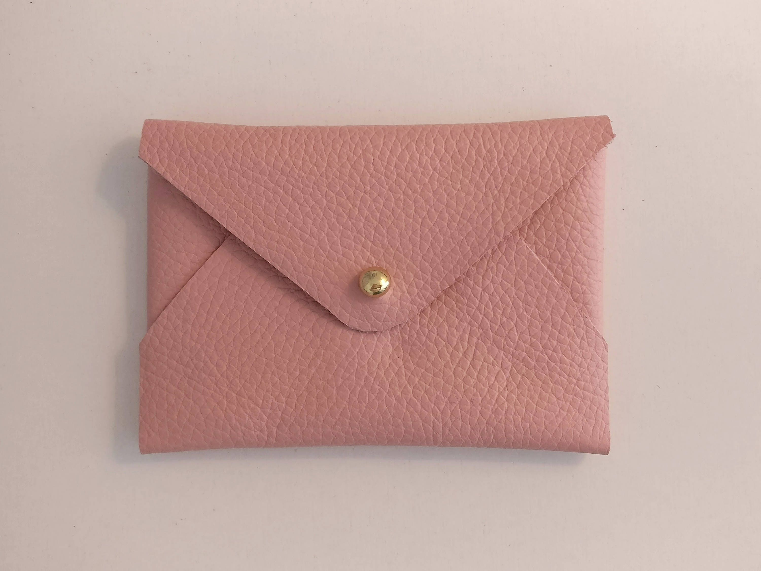 Pastal pink, nude leather envelope business card holder, card pouch ...