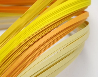120 strips of paper for Quilling - yellow gradient