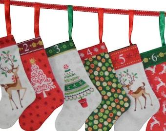 Traditional Christmas Mini Stockings Advent Calendar Craft & Sew - PANEL