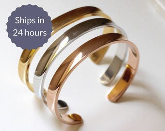 FREE SHIPPING Simple Stainless Steel Stacking Cuff Bangle Bracelets in Silver, Gold, and Rose Gold Set