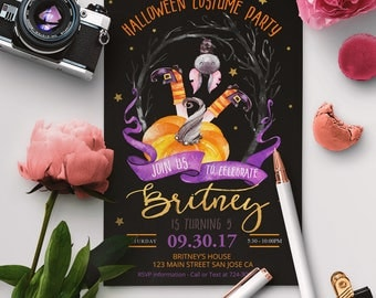 Halloween Birthday Invitation, Kids Halloween Party Invitation, Costume Party Invitation, Halloween Birthday Party Invitations