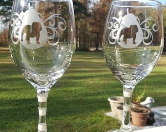 2 Bulldog wine glasses in decorative pear