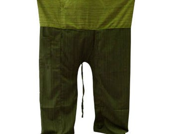 Traditional Thai Fisherman Yoga pants handmade from 100% cotton fabric free size.