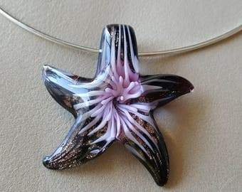 Silver Plated Glass Starfish Necklace - Black Brown Glass with Pink Flower and Bronze Accents