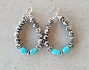 Silver Corrugated and Turquoise Earrings