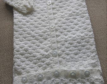 Hand knitted baby sleeping bag