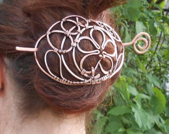 Big strong wire wrapp metall barrette  Copper hairpin Clip of copperVintage style Vintage style Slide Metal wire wrapped Author's hair stick