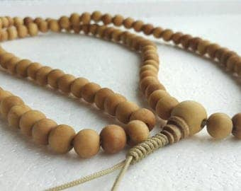 Soft wood: 108 bead mala (10 mm size)
