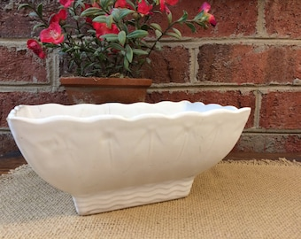 McCoy Vintage Planter 1950s Succulent. Antique White wedding.
