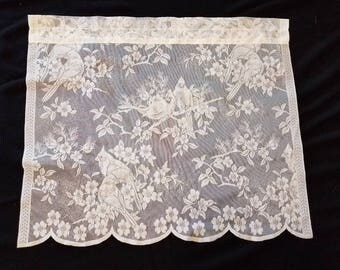 6 Lace Curtain Panels with Birds Ivory Colored Window Valances