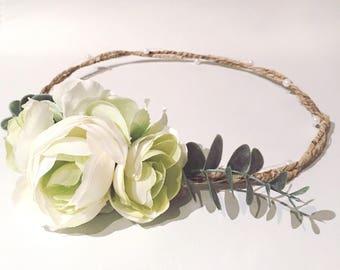Green flower crown, Half Flower Crown, pastel flower crown, flower headband, side flower crown, wedding flower crown, baby flower crown
