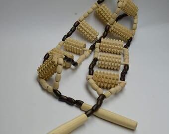 "Handmade Wooden Handheld Roller Acupressure Massager for back and body Reflexology Tools Massage Ukraine Wood Massager Roller 43.3""x 3.4"""